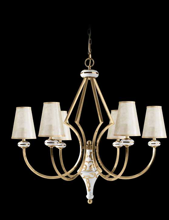 5558/5/bp adario con paralume bianco platino white platinum chandelier with shade E14 5 x 40W h.