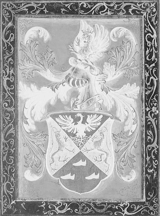 Lo stemma inedito degli Zapata de Tassis The previously unpublished coat of arms of the Zapata de Tassis family unitamente ai fratelli Roderico, Alonso, Ferdinando, Francesco e il loro genitore,