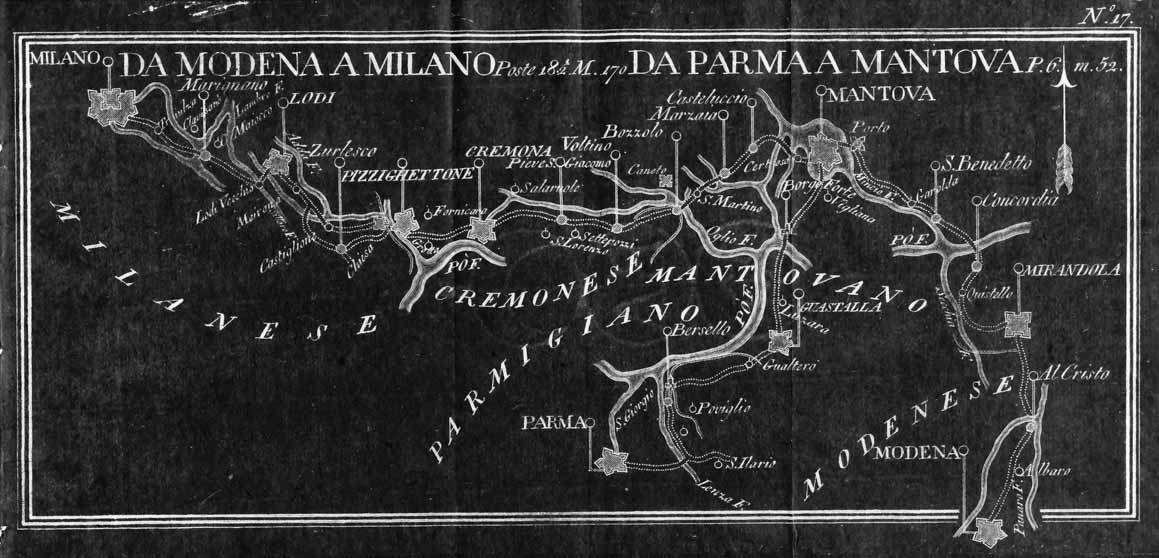 Da Mantova a Milano in una mappa postale del 1700 From Mantua to Milan in an eighteenth-century postal map Mantova e i Gonzaga, che intrattenevano rapporti con tutti i regnanti europei e si tenevano