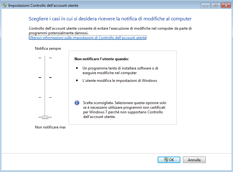 WINDOWS 7 Accedere al Pannello di Controllo > Account Utente > Account