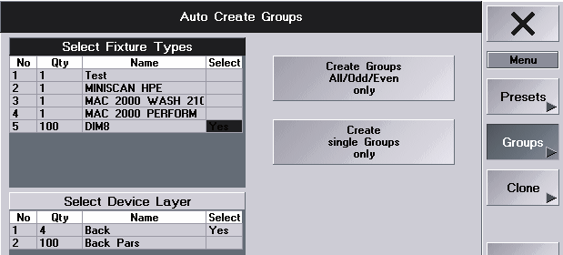 2.11.2 Creazione automatica di gruppi 6 If the Groups button is pressed (green background), you are in the Auto Create Groups menu.