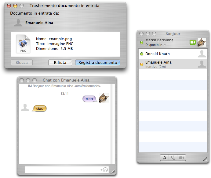 A Il supporto a link-local XMPP in Apple ichat Figura A.1.