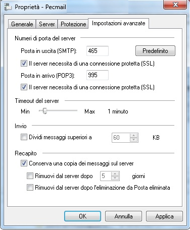 Configura la PEC su Windows Mail LIVE 6