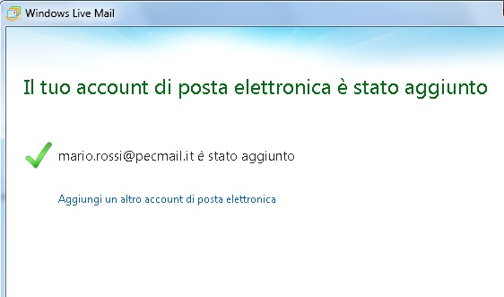 La configurazione di Windows Mail LIVE è