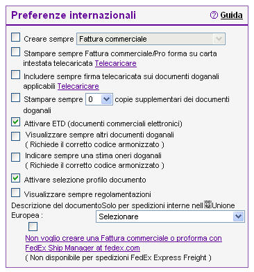 Documenti commerciali elettronici FedEx Documenti commerciali elettronici FedEx crea e invia i necessari documenti doganali di una spedizione in modo automatico e per via elettronica, e permette di
