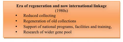 Four areas and their primary elements Era of plant exploration and introduction (1850 to 1950) Introduction Acquisition Collection Timeline 1850 1950 Primary support mechanism Multilaternal funding