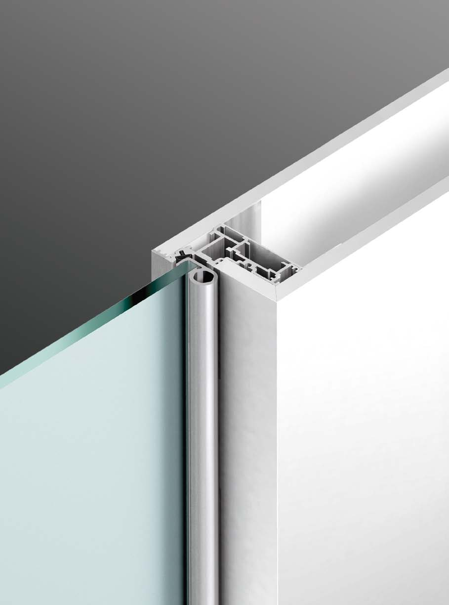 The Henry glass swing door provides a 180 opening, the full-length hinge in anodized aluminium allows to do without