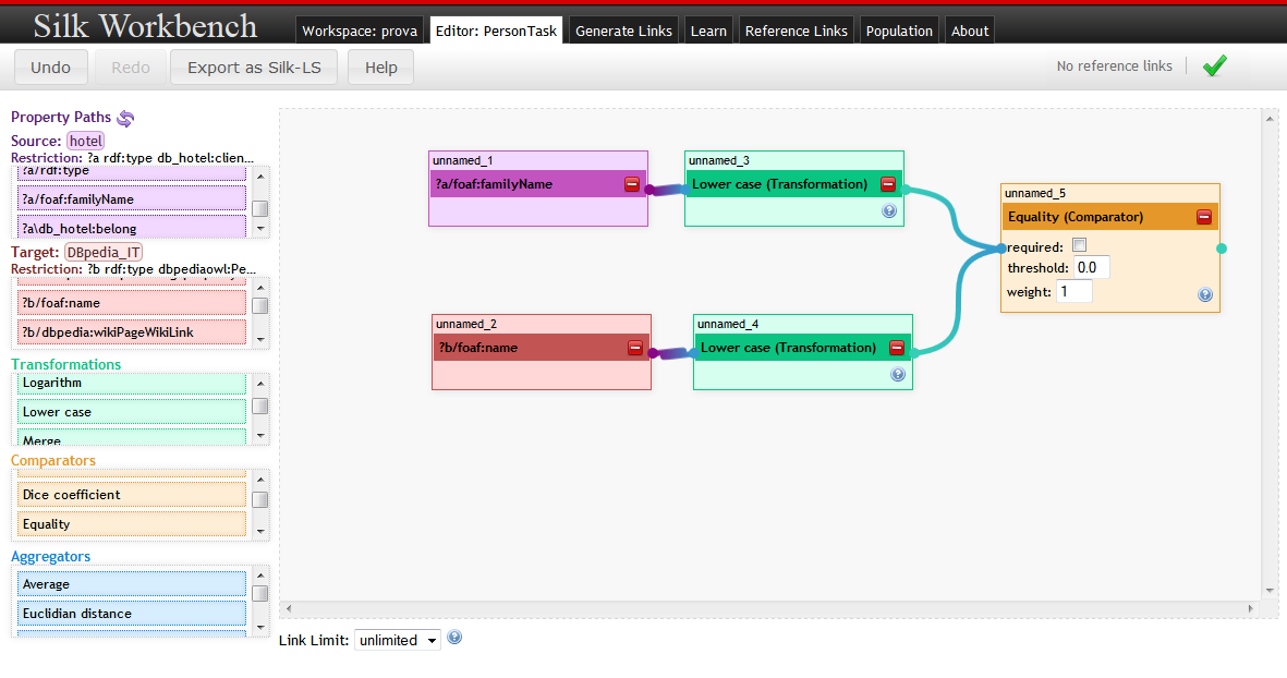 Figura 23: Linkage Rule Editor in Silk Workbench.