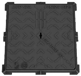 CHIUSINI IN GHISA SFEROIDALE DUCTILE CAST IRON MANHOLE TOPS E Leonardo Quadro TELAIO E COPERCHIO QUADRI A TENUTA ERMETICA AIRTIGHT SQUARE FRAME AND COVER E VEDI LEGENDA PAG. 41 SEE KEY TABLE PAG.