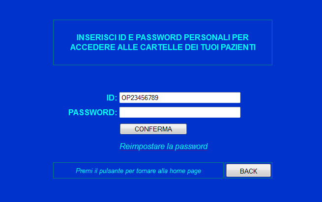 schermata di login all account personale. Fig.