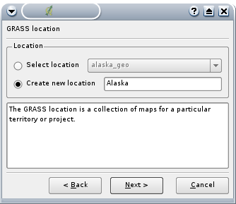 8.3 Creare una Location Figure 16: Creare una Location di GRASS in QGIS 5. 1.Ogni Location è immagazzinata in una directory.