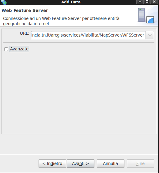 Web Feature Service II WFS PAT - udig - http://geoservices.provincia.tn.