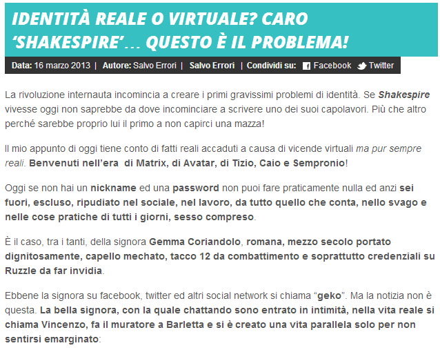 Social Media Identità reale o virtuale? http://news.mtv.