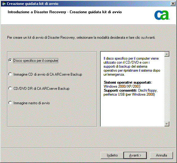 Metodi di ripristino di emergenza in Windows Server 2003 e Windows XP 5. Selezionare Disco specifico per il computer e fare clic su Avanti.