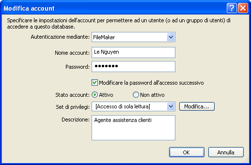 78 Esercitazioni di FileMaker Pro 5. In Nome account, digitare Le Nguyen. 6. In Password, digitare lnguyen.