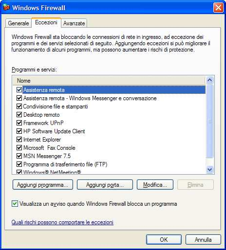Firewall Windows XP Service Pack 2