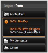 Importazione da DVD o Blu-ray Disc Con l'utilità di importazione è possibile importare video e audio da DVD e Blu-ray Disc.