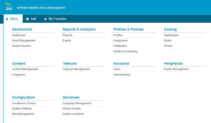 BYOD & Mobile Device Management Enrollment Dashboard Apps catalog Reports & Analytics Approval Add/modify accounts Upload
