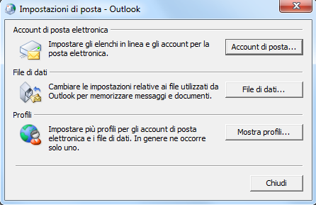 OUTLOOK 2010 Apparirà: Fare clic su Account di posta