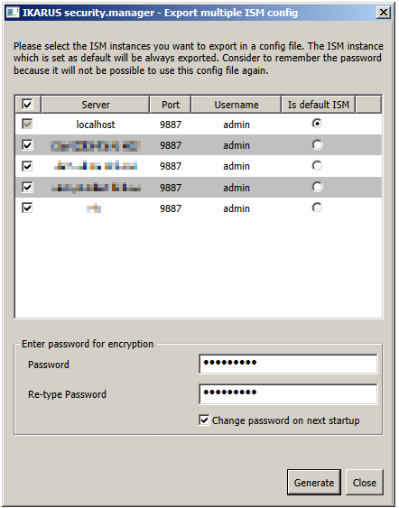 Figure 5-62: UI finestra Esporta i file di configurazione - password valida Ora, è possibile avviare