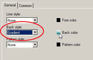 Modificare Back Style da Solid a Gradient. 3. Fare clic su Back Color. 4.