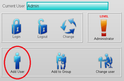Aggiunta di un utente FactoryTalk Security User/Group in Runtime 1. Selezionate Add User. 2.
