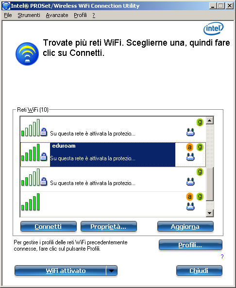4) Configurazione con software Intel Scaricare e installare il software Intel PROset/wireless WiFi Connection Utility Cliccare sull icona