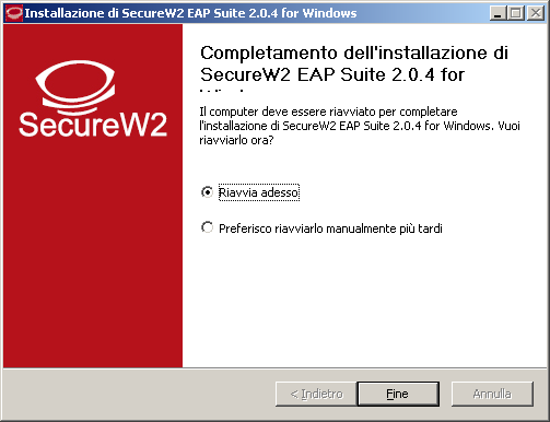 5) Configurazione con software SecureW2 Installare il software SecureW2