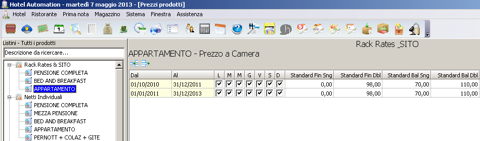 Programma Hotel / Gerì / Plus Release 3.16.0.1460 Data 08/07/2013 Tipo UPDATE Pag.