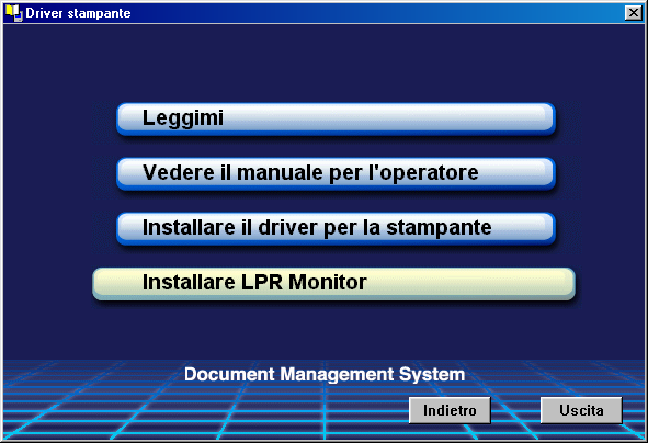 Installazione del monitor LPR (Line Printer Remote) Windows 98/Windows Me 1 Inserire il CD-ROM del Document Manager System della Panasonic. 2 Selezionare la lingua desiderata. Nota: 1.