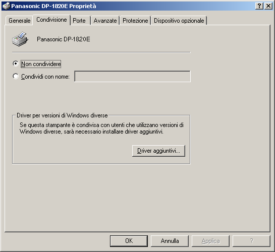 Configurazione del driver della stampante Windows 2000/Windows XP/Windows Server 2003 (amministratore) Condivisione <Windows 2000> <Windows XP> 1.