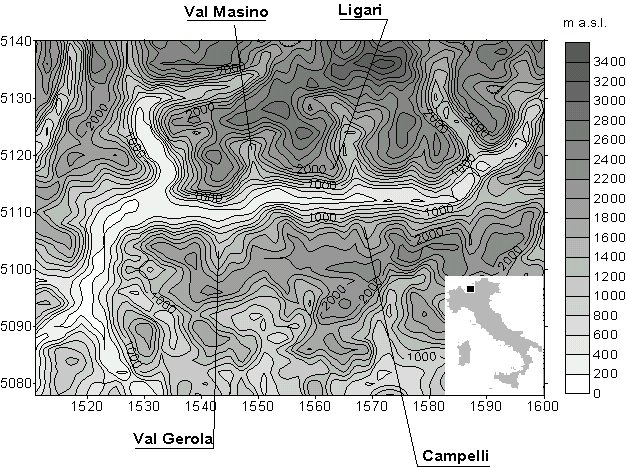 Techniques of ozone monitoring in a mountain forest region: passive and continuous sampling, vertical and canopy profiles 105 Figure 1: Region and investigation sites location [x and y show UTM