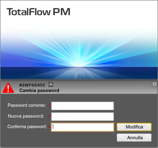 Accesso a TotalFlow PM 1) Immettere la vecchia password nel [Password corrente] campo. 2) Immettere la nuova password nel [Nuova password:] campo e nel [Conferma password:] campo.