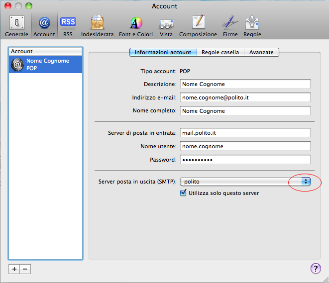 1.9 Apple Mail (POP/IMAP) Modificare l account come segue: Cliccare su Server posta in