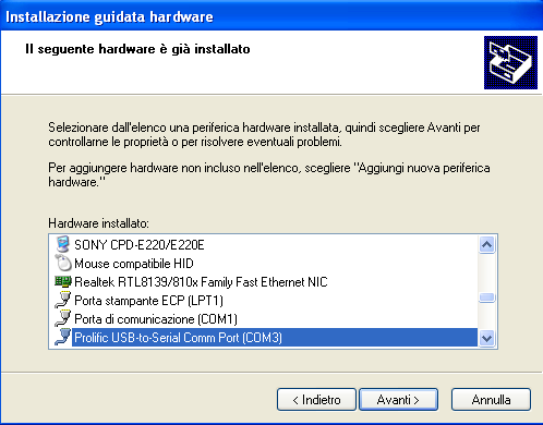 7. Cliccare su Fine e permettere a WINDOWS di copiare i file necessari all'installazione.