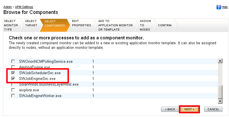 11. Fare clic su Next (Avanti). SolarWinds Orion Application Performance Monitor Evaluation Guide 12.