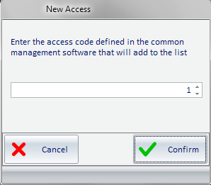 Selecting the Add Access button: 1.