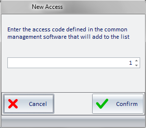 Picture 50 - Window for entering the code of the common access defined in the PMS 7.