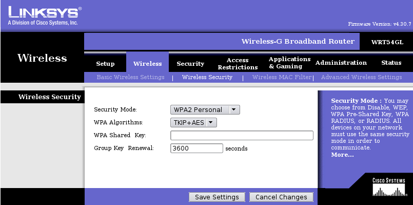 Linksys Web GUI