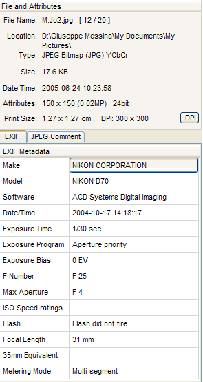 Exif Informations ExIF allows to integrate further information into the file.