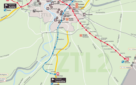 Tourist Coaches Circulation Plan LTZ 2 (within the motorway ring): only above euro 0 vehicles; LTZ 1 (within the Aurelian