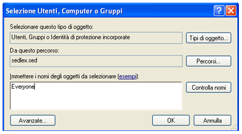 Windows XP Windows Seven Nel campo di testo, digitare Everyone e cliccare OK.