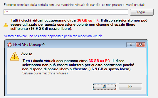 118 - Dimensione del disco virtuale.
