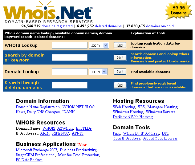 Servizi di ricerca su database Whois Whois.net http://whois.