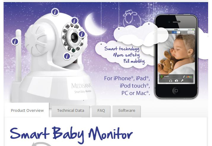 Sanità mobile domani - Smart Baby Monitor Si tratta di una webcam che si collega tramire w-lan all iphone, ipad, ipod Touch, PC o Mac ed invia ai dispositivi audio e immagini del