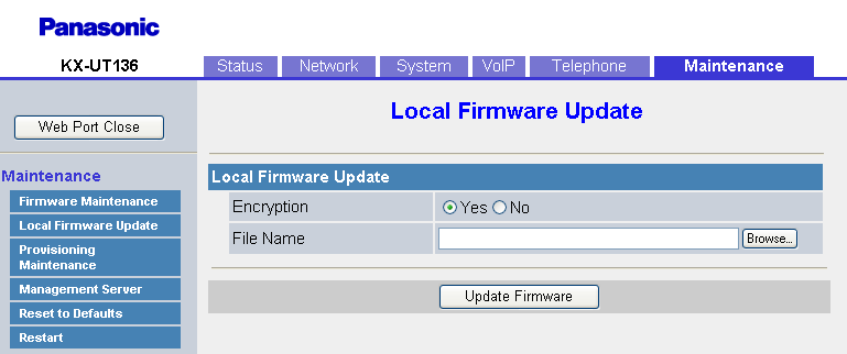 4.7.2 Local Firmware Update Firmware File URL Specifica l URL in cui è memorizzato il file del firmware. Questa impostazione è disponibile solo quando [Enable Firmware Update] è impostato su [Yes].