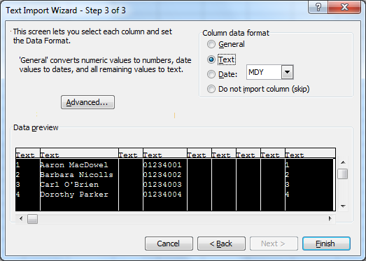 6.1.2 Modificare con Microsoft Excel 5. Nella finestra Text Import Wizard - Step 2 of 3, selezionare Tab come Delimiters, quindi fare clic su Next. 6.