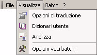 159 SYSTRAN MultiTranslate Utility (SMTU) Menu e comandi di SMTU Le sezioni che seguono descrivono i menu e comandi disponibili in SMTU.