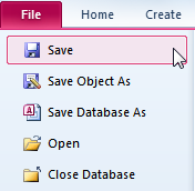 Salvare una tabella, query, form o report Per salvare qualsiasi oggetto di un database (tabella, query, form, report) basta selezionare il comando Salva (Save) dal menu File. Fig. 26.