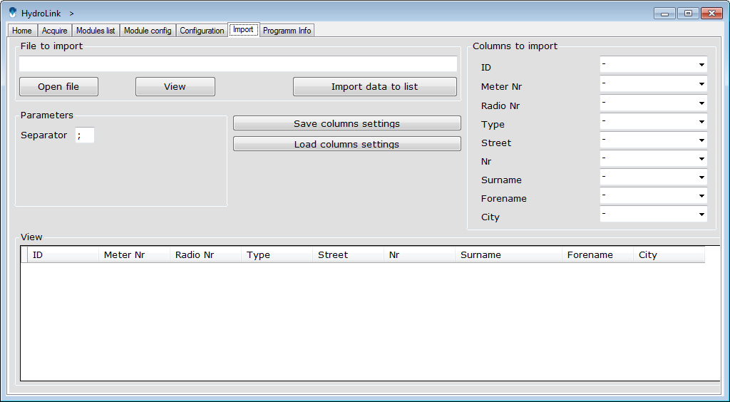 Available buttons and features: Open file will open a dialog popup that allows to choose the file for importing the data.